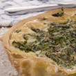 Stock Photo: Freshly baked spinach quiche