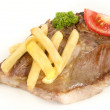 Pork neck with french fries — Stock Photo