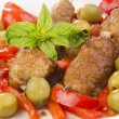 Stock Photo: Grilled minced meat rolls on a skewer
