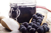 Blueberry marmalade and preserving sugar — Stock Photo