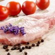Stock Photo: Pork chop with lavender