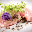 Stock Photo: Raw pork chops with herbs
