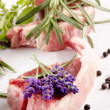 Stock Photo: Lamb chops and organic herbs