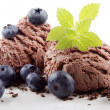Stock Photo: Chocolate ice cream with blueberry
