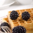 Blackberries and home made waffle — Stock Photo