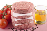 Home made raw beef burger — Stock Photo