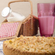 Stock Photo: Crumb cake on kitchen towel