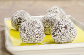 Home made chocolates of dark chocolate — Stock Photo