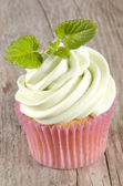 Vanilla cupcake with mint buttercream — Stock Photo
