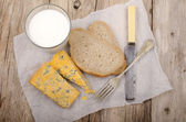 Breakfast with cheese and bread — Stock Photo