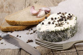 Soft cheese with herbs and bread — Stok fotoğraf