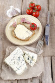Soft blue veined cheese and bread — Stock Photo