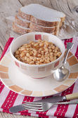Warm baked beans in a bowl — Stock Photo
