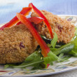 Thai salmon fishcake on a plate — Stok fotoğraf