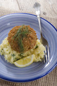 Salmon fishcake coated in brown breadcrumbs — Stock Photo