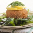 Stock Photo: Smoked haddock fishcake on salad