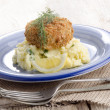 Stock Photo: Irish salmon fishcake with champ