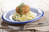 Irish salmon fishcake with champ — Stock Photo