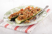 Stuffed zucchini with rice and minced meat filling — Stock Photo