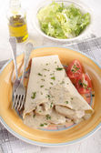 Crepe with turkey meat filling — Stock Photo