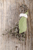 Dried thyme covenant and bay leaf  — Stok fotoğraf