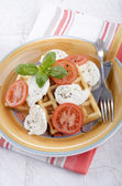 Home made waffle with cheese and tomato — Stock Photo