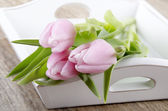 Pink tulips as mother's day gift — Stock Photo