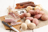 Meat and vegetable on a table — Stock Photo