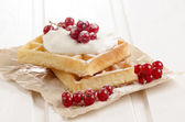 Red currants with sour cream on waffle — Stock Photo