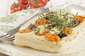 Mediterranean flat bread with thyme — Stock Photo