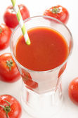 Tomato juice in a glass — Stock Photo