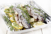 Trout with lemon slices and thyme — Stock Photo