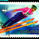 Vintage postage stamp. Ski Jump. — Stock Photo