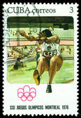 Vintage postage stamp. Broad jump. — Stock Photo