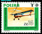 Vintage postage stamp. Old plane Wilga, 1983. — Stock Photo