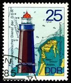 Vintage postage stamp. Lighthouse Dornbusch. — Stock Photo
