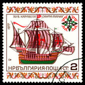Vintage postage stamp. Caravel Santa Marie. — Stock Photo