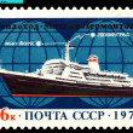 Vintage postage stamp. Passenger ship Mikhail Lermontov. — Stock Photo