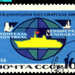 Vintage  postage stamp.  International  Route Leningrad - Montre - Stock Photo