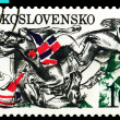 Vintage  postage stamp. Falling horses and jockeys. - Stock Photo