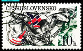 Vintage postage stamp. Falling horses and jockeys. — Stock Photo