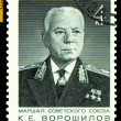 Vintage  postage stamp.  Marshal   K. E. Voroshilov. - Stock Photo