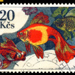 Vintage  postage stamp. Aquarium  Fish Carassius auratus. — Stock Photo