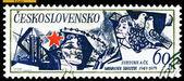 Vintage postage stamp. Dove, Red Star, Man. — Stock Photo
