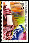 Vintage postage stamp. Cuba. Agrarian Reform. — Stock Photo