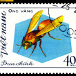 Vintage  postage stamp. Insect Ong vang. — Stock Photo