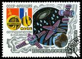 Ročník poštovní známka. satelity. — Stock fotografie