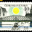 Vintage  postage stamp. Railroad Bridge. Prague. — Stock Photo