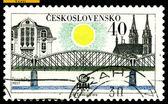 Vintage postage stamp. Railroad Bridge. Prague. — Stock Photo