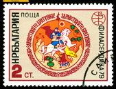 Vintage postage stamp. Horseman Receiving Gifts. — Stock Photo
